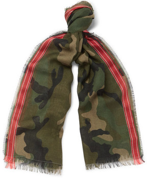 Valentino Fringed Camouflage-Print Wool-Blend Scarf