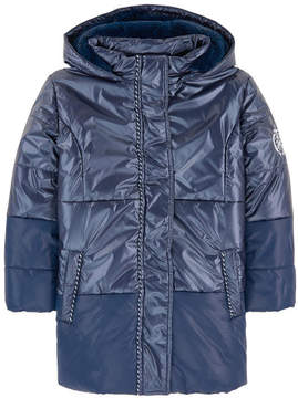 3 Pommes Long padded coat with a false fur lining