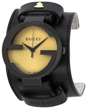 Gucci Grammy XL Black Leather Cuff Men's Watch YA133202