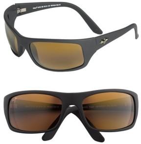 Maui Jim Men's 'Peahi - Polarizedplus2' 65Mm Sunglasses - Matte Black