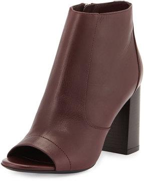Vince Open Toe Black Leather Chunky Heel Shoe