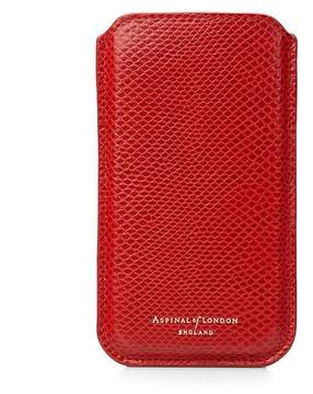 Aspinal of London Iphone 6 / 7 Leather Sleeve In Berry Lizard Cream Suede