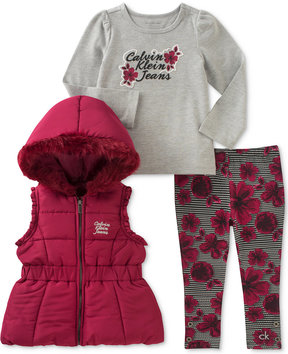 Calvin Klein 3-Pc. Hooded Puffer Vest, Top & Leggings Set, Baby Girls (0-24 months)