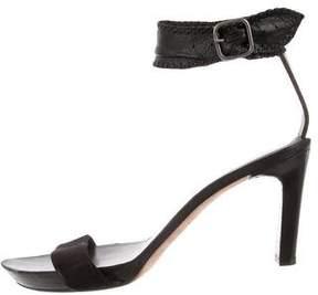 Henry Beguelin Leather Suede-Trimmed Sandals