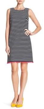 Eliza J Stripe Shift Pompom Dress