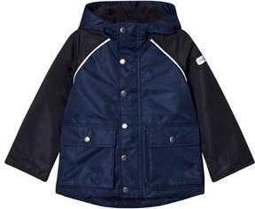 Joules Navy and Blue Fleece Line Waterproof Hooded Coat