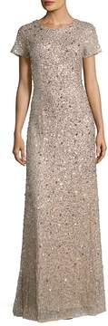 Adrianna Papell Women's Sequined Scoop-Back Gown
