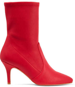 Stuart Weitzman Cling Leather Sock Boots - Red