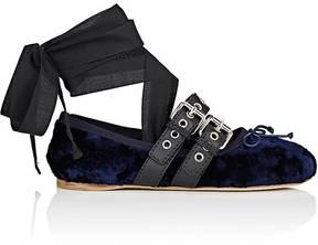 Miu Miu Women's Double-Buckle Velvet Ankle-Tie Flats