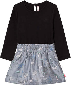 Billieblush Black Top and Multi Pattern Skirt Interlock Dress