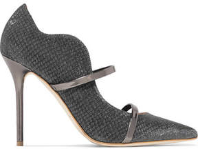 Malone Souliers Maureen Leather-trimmed Metallic Mesh Pumps