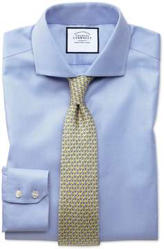 Charles Tyrwhitt Extra Slim Fit Spread Collar Non-Iron Herringbone Sky Blue Cotton Dress Shirt French Cuff Size 14.5/32