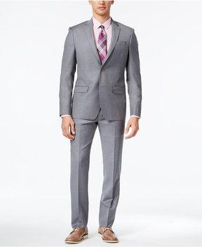 DKNY Men's Slim-Fit Twill Light Gray Suit