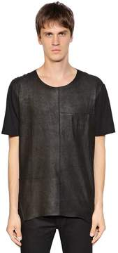 Giorgio Brato Leather & Jersey T-Shirt W/ Pocket