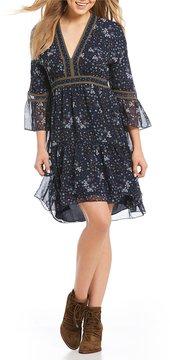 Chelsea & Violet Printed Bell Sleeve V-Neck Dress