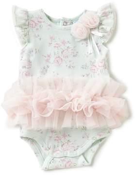 Edgehill Collection Baby Girls Newborn-6 Months Floral-Print Ruffled Bodysuit