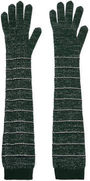 Prada Striped Metallic Wool-blend Gloves - Green