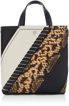 Proenza Schouler Hex Small Paneled Snake-Effect Leather Tote