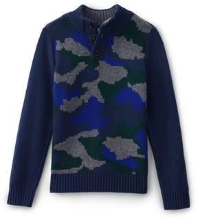 Lands' End Lands'end Little Boys Camo Button Mock Neck Sweater