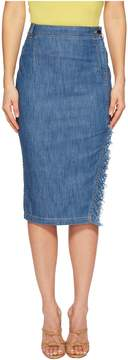 Moschino Skirt with Side Slit and Denim Fringe Women's Skirt
