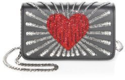 Les Petits Joueurs Ginny Heart Leather Clutch