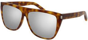 Saint Laurent Mirrored Oversized Flat-Top Sunglasses