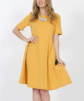 Ash Mustard Pocket Shift Dress - Women