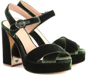 Tory Burch Loretta 115 velvet plateau sandals