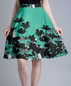 Lily Mint & Black Floral Silhouettes A-Line Skirt - Women & Plus