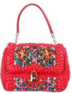 Dolce & Gabbana Embellished Miss Bonita Medium Straw Bag