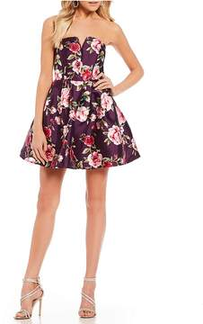 B. Darlin Strapless Floral Fit-And-Flare Dress