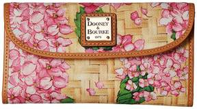 Dooney & Bourke Hydrangea Basket Weave Continental Clutch Clutch Handbags - PINK/BTRSCTCH TRIM - STYLE