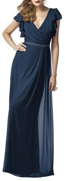 Dessy Collection Women's Sequin Flutter Sleeve Gown