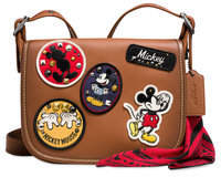 Disney Mickey Mouse Patch Patricia Leather Saddle Bag by COACH