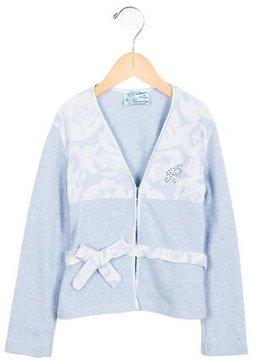 Miss Blumarine Girls' Floral-Paneled Wool Cardigan w/ Tags