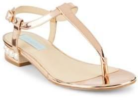 Betsey Johnson Evie T-Strap Metallic Thong Sandals