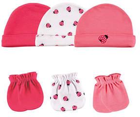 Luvable Friends Pink & White Ladybug Six-Piece Cap & Mittens Set