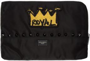 Dolce & Gabbana Black Nylon Crown Patch Pouch