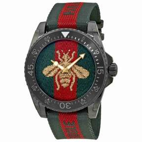 Gucci Dive Bee Embroidered Dial Men's Watch YA136216