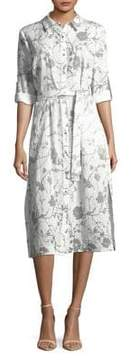 T Tahari Floral Midi Shirt Dress
