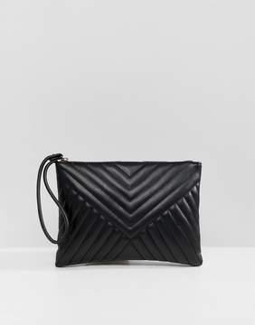 Asos DESIGN quilted zip top clutch bag
