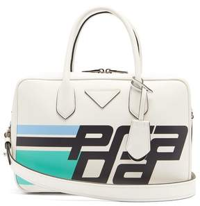 Prada Logo Print Leather Shoulder Bag - Womens - White Multi