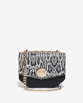 Express Snake Print Turnlock Chain Shoulder Bag