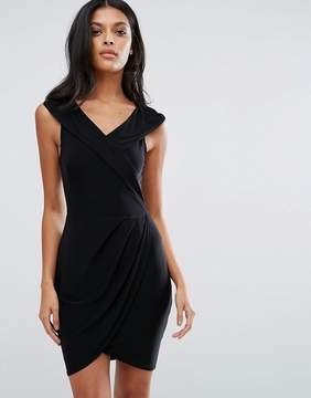 Club L Cross Wrap Front Overlay Detail Dress