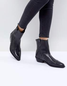 Mango Leather Cowboy Boot