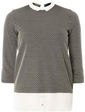 Dorothy Perkins Black Jersey Jacquard Print 2-In-1 Top