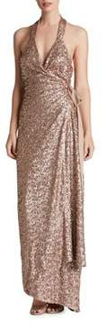 Dress the Population Giselle Plunging Sequin Wrap Gown
