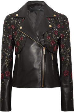 Elie Saab Embroidered Leather Biker Jacket - Black