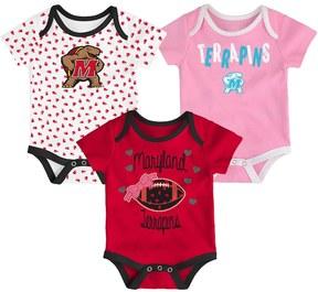 NCAA Baby Maryland Terrapins Heart Fan 3-Pack Bodysuit Set