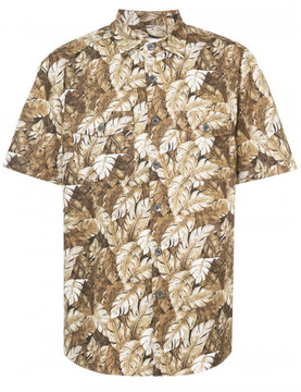 Julien David leaf print short sleeved shirt